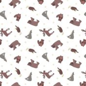 Lewis & Irene - Small Things World Animals - 6876 - North American on White - SM22.1 - Cotton Fabric